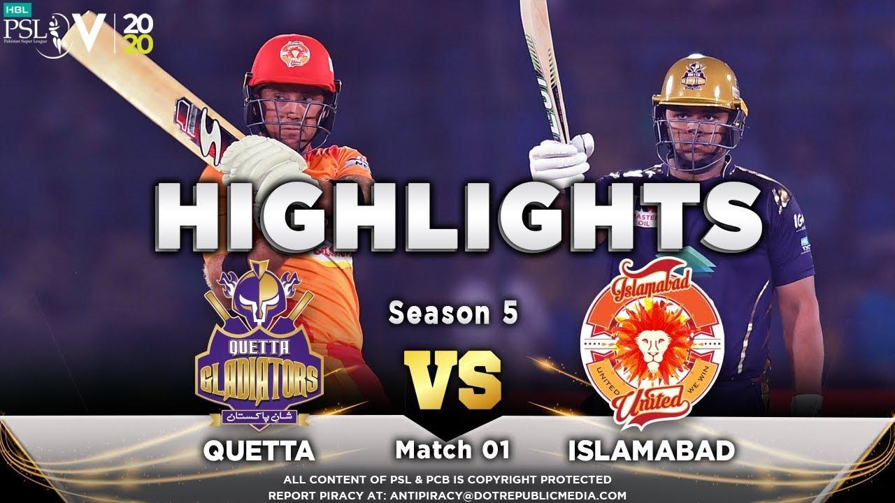 Quetta Gladiators vs Islamabad United – Match Highlights   20 Feb 2020   HBL PSL 2020